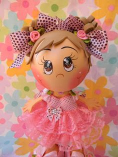 adorable little girl fun foam doll Kids Crafts, Foam Crafts, Diy And Crafts, Arts And Crafts, Pasta Art, Doll Face Paint, Painted Gourds, Clothespin Dolls, Clay Figurine