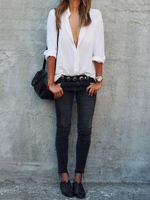 White Lapel Long Sleeve Buttons Blouse -SheIn(Sheinside)