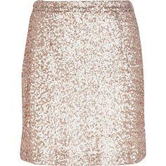 Gold sequin mini skirt $50.00