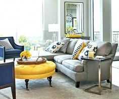 Brown grey yellow living room grey yellow and brown living room decorating ideas yellow grey brown Blue And Yellow Living Room, Navy Living Rooms, Living Room Decor Colors, Living Room Color Schemes, Living Room Green, New Living Room, Living Room Modern, Living Room Designs, Bedroom Yellow