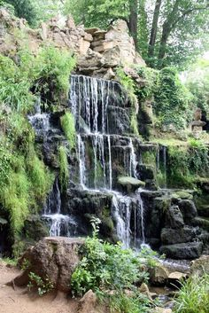 waterfall on the grounds of bowood house in england Waterfall Photo, Garden Waterfall, Waterfall Fountain, Beautiful Waterfalls, Beautiful Landscapes, Beautiful Gardens, Backyard Water Feature, Ponds Backyard, Backyard Waterfalls
