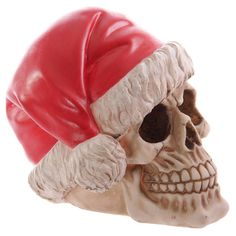 Funky Skull Decorative Wearing Santa Hat Unusual by getgiftideas