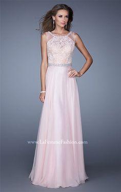 La Femme 20899 Blush High Neck Lace Prom Dresses Cheap