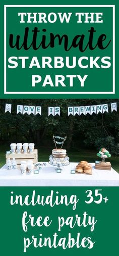 Free Starbucks Party Printables. Download the ultimate set of free party printables for a coffee party. Get what you need for a coffee bar. Perfect for a coffee bridal shower. Starbucks birthday party. Or just a Starbucks party because you love Pumpkin Spice Lattes. Download free party printables. https://momenvy.co/2017/10/the-ultimate-starbucks-bridal-shower-and-birthday-printable-party-packs.html