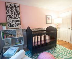 Pink Eclectic Nursery - love the reverse chevron rug!