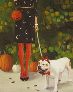 Danielle And The Devil by Janet Hill (Original Oil Painting on Flat Canvas Panel, 8 x 10)