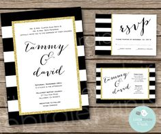 Idea for gift card box. Top cut out of striped area should be trimmed in gold sparkly ribbon or gold diamonds Wedding Ties, Wedding Paper, Gold Wedding, Wedding Cards, Dream Wedding, Black And White Wedding Invitations, Black White Gold, Striped Wedding, Branding