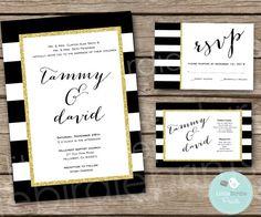WEDDING INVITATION Black White Gold Glitter by littlebirdieprints, $21.00