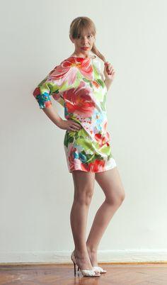 Luxurious SILK Dolman Sleeve Floral Print Dress.  Leggings under this for Winter.