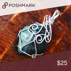 BEAUTIFUL FILIGREE WIRE WRAPED PENDANT NECKLACE Nice crystal stone green agate or jasper  Handmade wire wrapping   Will come on a vegan suede leather cord in your choice of color  Gray  Black  White   Please ask questions before buying  All items video taped before shipping kymbercrystals Jewelry Necklaces