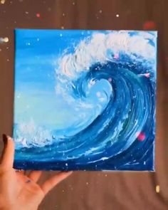 Simple Canvas Paintings, Watercolor Paintings For Beginners, Easy Canvas Art, Canvas Painting Tutorials, Small Canvas Art, Cute Paintings, Watercolor Art, Acrylic Sky Painting, Wine Painting
