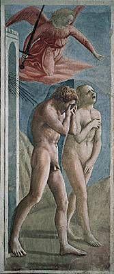 """Masaccio, Adam et Ève chassés du paradis (1424-1428) fresque de la chapelle Brancacci église Santa Maria del Carmine, Florence. """"Ses personnages criants de vérité, son style novateur, ont sidéré ses contemplateurs. A tel point que, durant des siècles, l'oeuvre de Masaccio fut censurée. Ajoutées sous Cosme III de Médicis en 1674, des feuilles de figuier dissimulant les sexes d'Adam et Eve ne seront retirées que dans les années 1980, lors d'une grande campagne de restauration."""" (Beaux Arts…"""