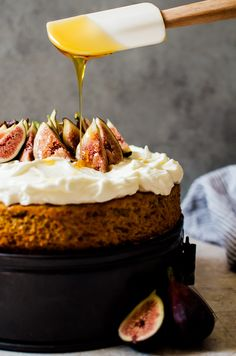 This honey cake with whipped mascarpone and figs is a simple, yet exotic cake that is perfect for a weeknight treat with coffee or as a weekend affair.
