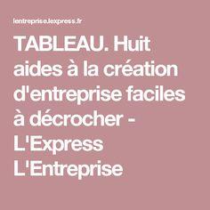 TABLEAU. Huit aides à la création d'entreprise faciles à décrocher - L'Express L'Entreprise