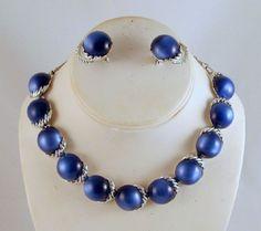 Coro Necklace Earrings Blue Moonglow by GrapenutGlitzJewelry