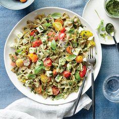 Pesto Pasta Salad with Tomatoes and Mozzarella | MyRecipes.com