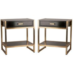 1stdibs | Pair of French Ebonized Oak and Bronze Tables