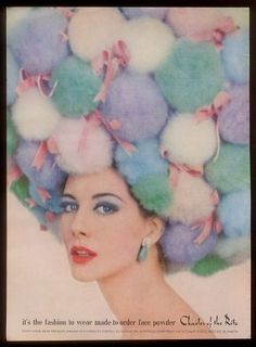 """Vintage Cosmetics - """"It's the fashion to wear made-to-order face powder."""" Charles of the Ritz,  circa 1962"""