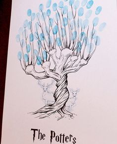 A fingerprint tree guestbook adds a personal touch to your big day. This print features a Harry Potter Whomping Willow. It also features Lily and