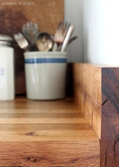 Keeping It Cozy: All About Butcher Block Countertops. GREAT blog post about Oak Butcher Block and it care!