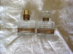 Vintage perfume bottles / Pressed glass with gold filigree / made in Austria / Vanity decor by PureJoyVintage on Etsy