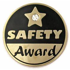 PinMart Gold and Navy 2 Year Safety Award Enamel Lapel Pin