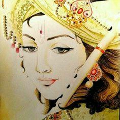 Lord krishna Hindu god flute krsna lotus eyed blue