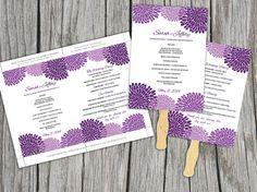 DIY Wedding Fan Amethyst Purple Chrysanthemum Microsoft Word Template - Plum Bouquet Blooms Ceremony Program - Outdoor Wedding Program Favor by PaintTheDayDesigns on Etsy, $9.00