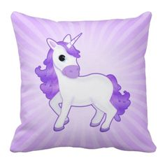 Pretty Purple Unicorn Cartoon on Stripe Background Throw Pillow