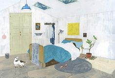 Room with a Skylight by Fumi Koike on Curiator, the world's biggest collaborative art collection. Art And Illustration, Editorial Illustration, Art Design, Cool Art, Graffiti, Sketches, Fine Art, Art Prints, Decoration