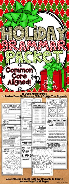 Winter Holidays Grammar Packet - aligned with Common Core Standards. Engaging and fun activities to practice essential grammar skills while learning about holidays around the world. $