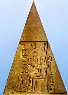 Queen Hatshepsut, dressed in the costume of a King and depicted as a man, is crowned by the god Amun. Amun and the hieroglyphs denoting his name were defaced during the reign of Akhenaten and restored later. Relief on a fallen obelisk at Karnak. Ancient Egyptian Artifacts, Ancient Egypt History, Egyptian Symbols, Egyptian Mythology, Egyptian Goddess, Ancient Symbols, Ancient Aliens, Ancient Greece, Egypt Museum
