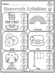 FREE St. Patrick's Day Literacy and Math Printables - Kindergarten - Shamrock Syllables