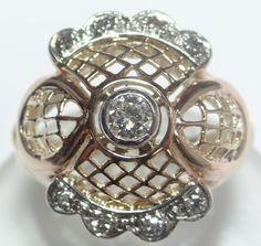 Feliz Joias - Anos 50/60 Magnífico Anel Com Diamantes - R$ 1.480,00 no MercadoLivre