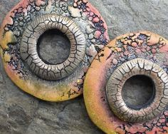 atLoganSquare - Polymer clay rustic, donut disc beads with natural patterns in shades of orange, gold, and bronze