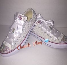 8ac1d554fd43 WOMEN S Pearly White Glam Bedazzle Bling Converse All Star Chuck Taylor  Sneakers