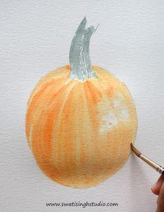 How to paint a realistic pumpkin in watercolor - www.swatisinghstudio.com