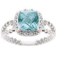 Sterling Silver Ocean Mist Topaz And Diamond Ring