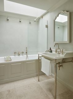 Clean and neutral tones give calm and light to this bathroom. With the classic Naver vanity basin, Lomond bath, and nickel fittings, a stunning bathroom set up. Boho Bathroom, Bathroom Sets, Bathroom Wall, Master Bathroom, Vanity Basin, Classic Bathroom, Upstairs Bathrooms, Bath Design, Neutral Tones
