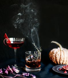 Sleepy Hallow Cocktail. 9 Things You Need to Throw an Elegant Halloween Dinner Party via Brit + Co.