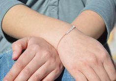 Aquamarine Bracelet, Danity Stacking Bracelet, 14k Gold Fill, Sterling Silver, Rose Gold, Blue Bracelet, Bar Bracelet, Gold Bracelet by Alaridesign