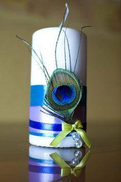 Wedding unity candle. Peacock wedding brooch par NadezhdaBelokon, $10.00