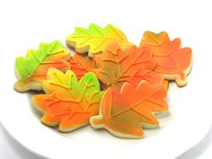 Decorated Fall Leaves Sugar Cookies by MrsCookieBakes on Etsy, $30.00