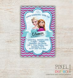 FROZEN PRINTABLE INVITATION, Custom Frozen Invitation For Girls Birthday Party, Frozen Party Decor, Photo Invitation, Disney Frozen, Frozen