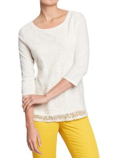 Old Navy | Women's Lace-Front Jersey