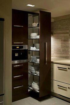 Home decor kitchen - Modern kitchen design - Small kitchen pantry - Kitchen design - Kitchen fu, Small Kitchen Pantry, Kitchen Pantry Design, Modern Kitchen Cabinets, Diy Kitchen Storage, Modern Kitchen Design, Home Decor Kitchen, Interior Design Kitchen, Home Kitchens, Gray Interior
