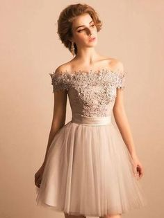 A-line Off-Shoulder Mini Tulle Appliqued Beaded Homecoming Dresses APD2644