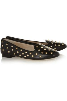 MICHAEL Michael Kors | Ailee studded glossed-leather slippers | NET-A-PORTER.COM