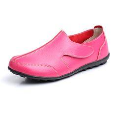 Las mujeres zapatos de los holgazanes de los planos de deslizamiento cómodo en cuero suave casuales zapatos de los planos de punta redonda