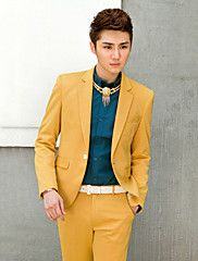 Yellow Solid Slim Fit Tuxedo In Polyester – USD $ 71.39